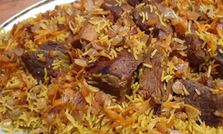 طريقة عمل الرز البخاري باللحم على اصوله