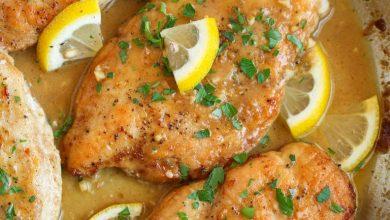 شرحات الدجاج بالثوم والليمون