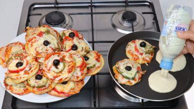 طريقة عمل بيتزا المقلاة بالفلافل والطون