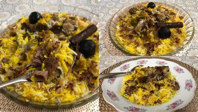 رز بالزعفران واللحم من المطبخ الخليجي