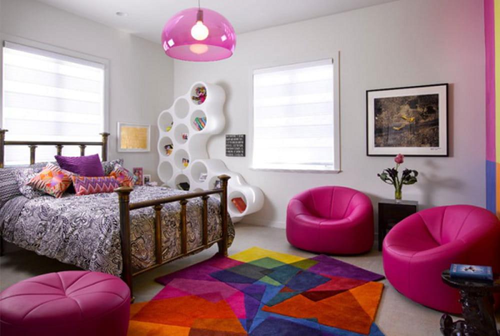 غرف نوم بنات بألوان نابضة