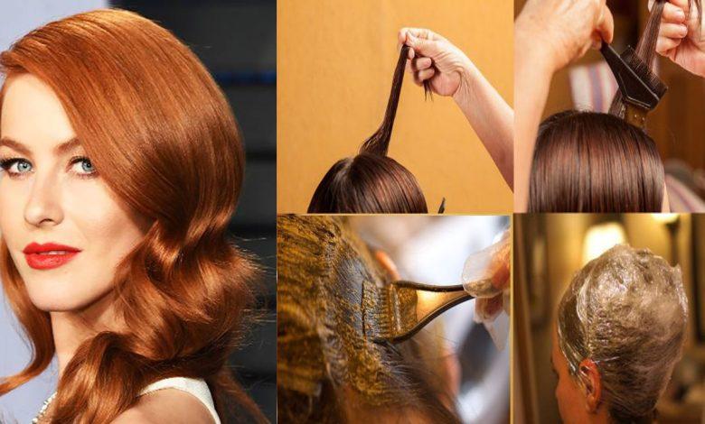 طريقة صبغ الشعر باللون النحاسي