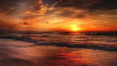 كلام جميل عن البحر و منظر غروب الشمس الساحر